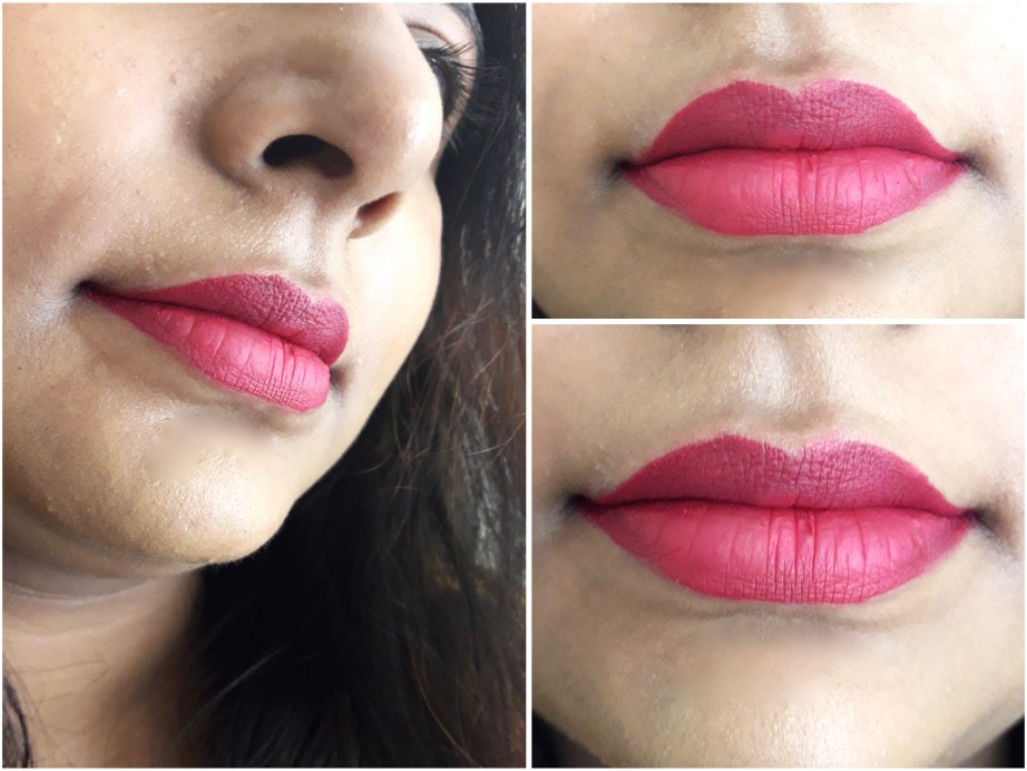 Milani Amore Matte Lip Creme Gorgeous Review Swatches on lips