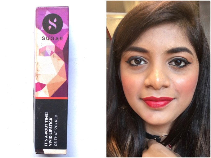 Sugar Its A Pout Time Vivid Lipstick That 70s Red Review Swatches MBF Makeup Blog