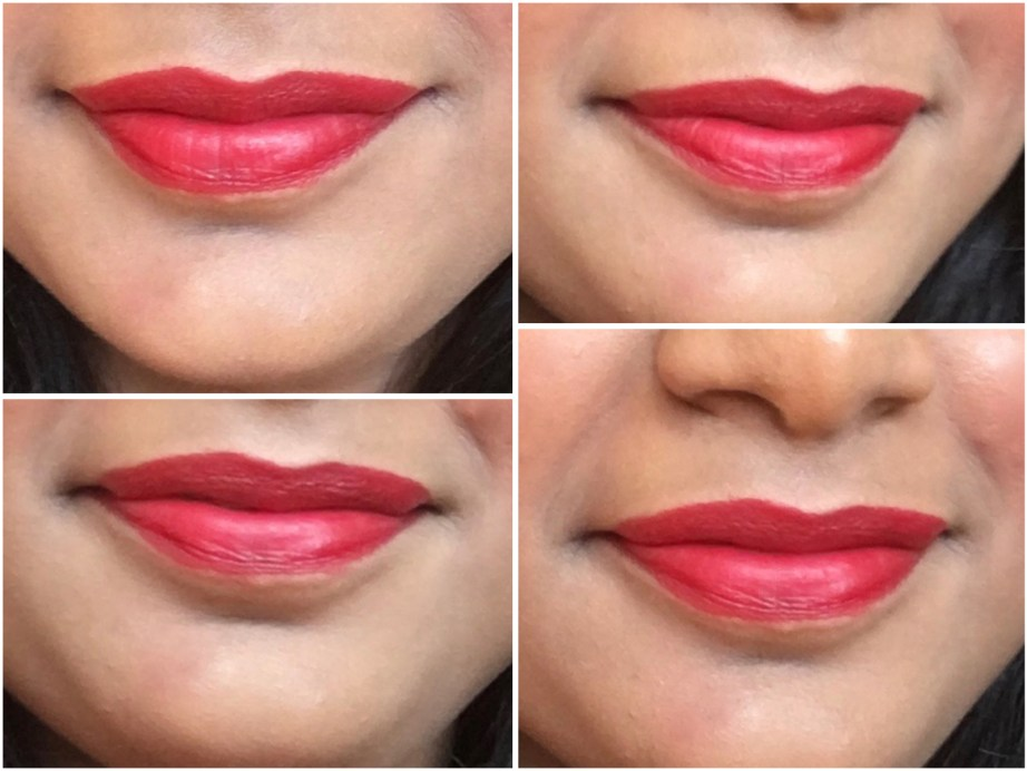Sugar Its A Pout Time Vivid Lipstick That 70s Red Review Swatches on lips