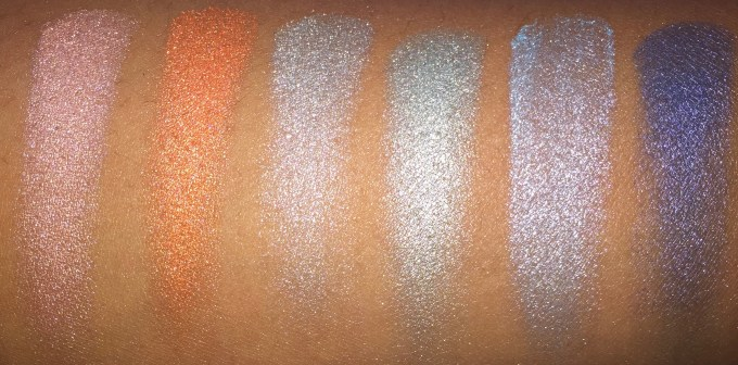 BH Cosmetics Galaxy Chic Baked Eyeshadow Palette Review Swatches Saturn Venus Meteor Comet Earth Neptune with flash