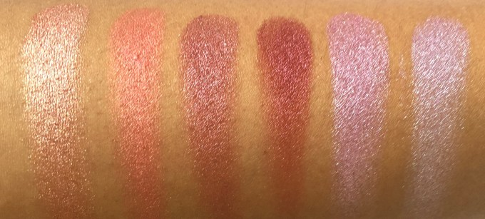 BH Cosmetics Galaxy Chic Baked Eyeshadow Palette Review Swatches Sun Jupiter Prometheus Aphrodite Milky Way Cosmic finger swatch