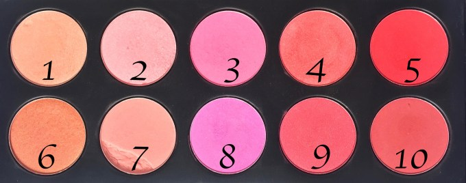BH Cosmetics Glamorous Blush 10 Color Palette Review Swatches Shade Numbers