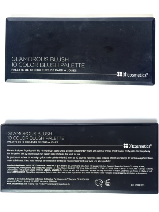 BH Cosmetics Glamorous Blush 10 Color Palette Review Swatches front back