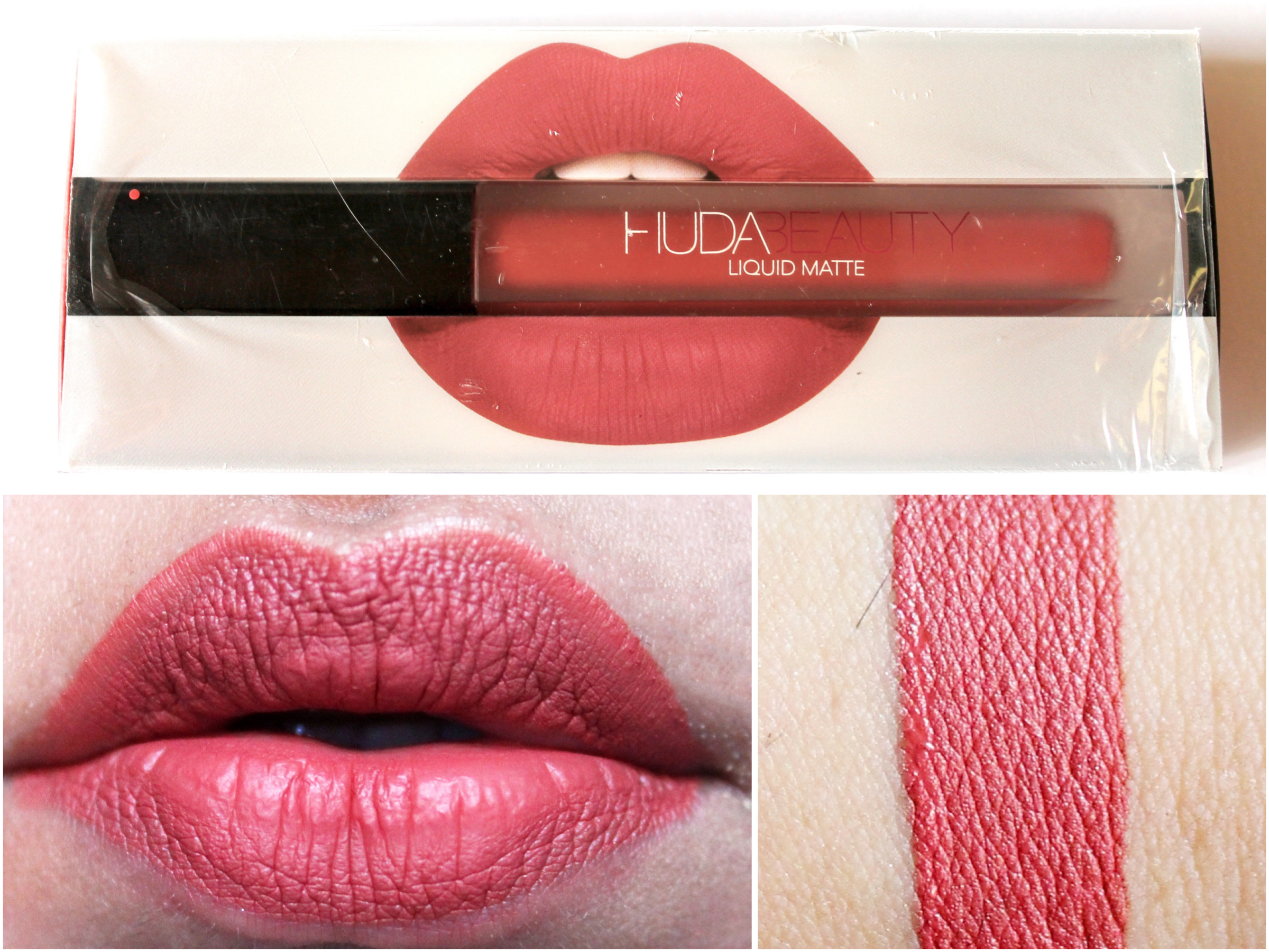 Huda Beauty Liquid Matte Lipstick Icon Review Swatches