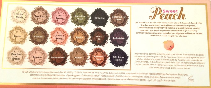Too Faced Sweet Peach Eyeshadow Palette Review Swatches Back Box