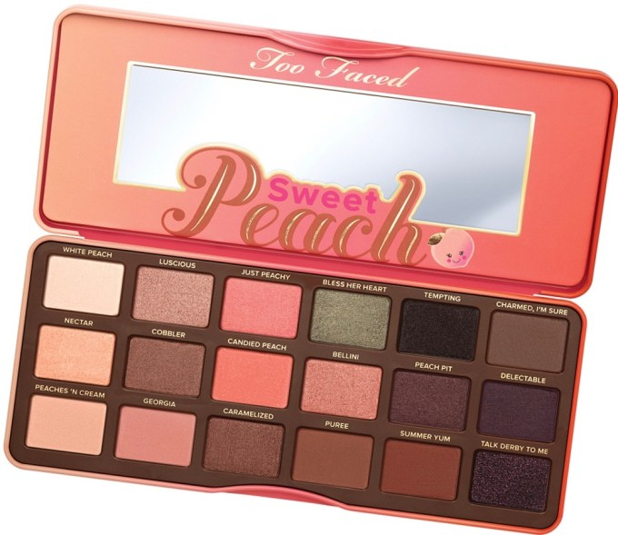 Too Faced Sweet Peach Eyeshadow Palette Review Swatches Inside Open