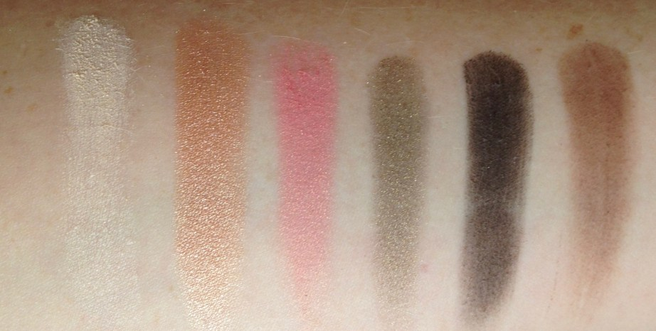 Too Faced Sweet Peach Eyeshadow Palette Review Swatches Row 1