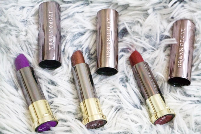 Urban Decay Vice Lipsticks Pandemonium Conspiracy Rock Steady Review Swatches MBF