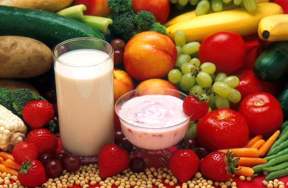 Very Healthy Balanced Food Diet Fresh Fruits Dairy