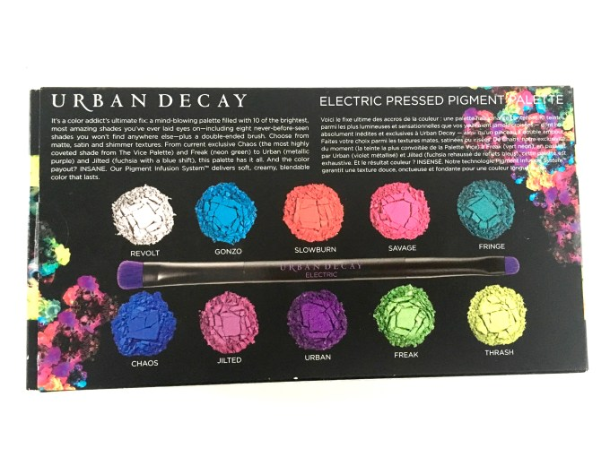 Urban Decay Electric Pressed Pigment Eyeshadow Palette Back Cover