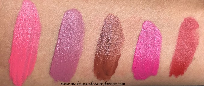 All Lakme 9 to 5 Weightless Matte Mousse Lip & Cheek Color Shades Swatches Plush Pink, Rose Touch, Coca Soft, Fuchsia Suede, Crimson Silk