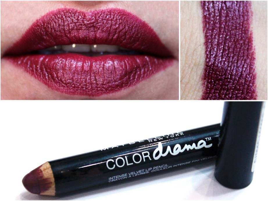 Maybelline Color Drama Intense Velvet Lip Pencil Berry Much Review, Swatches MBF Beauty Blog