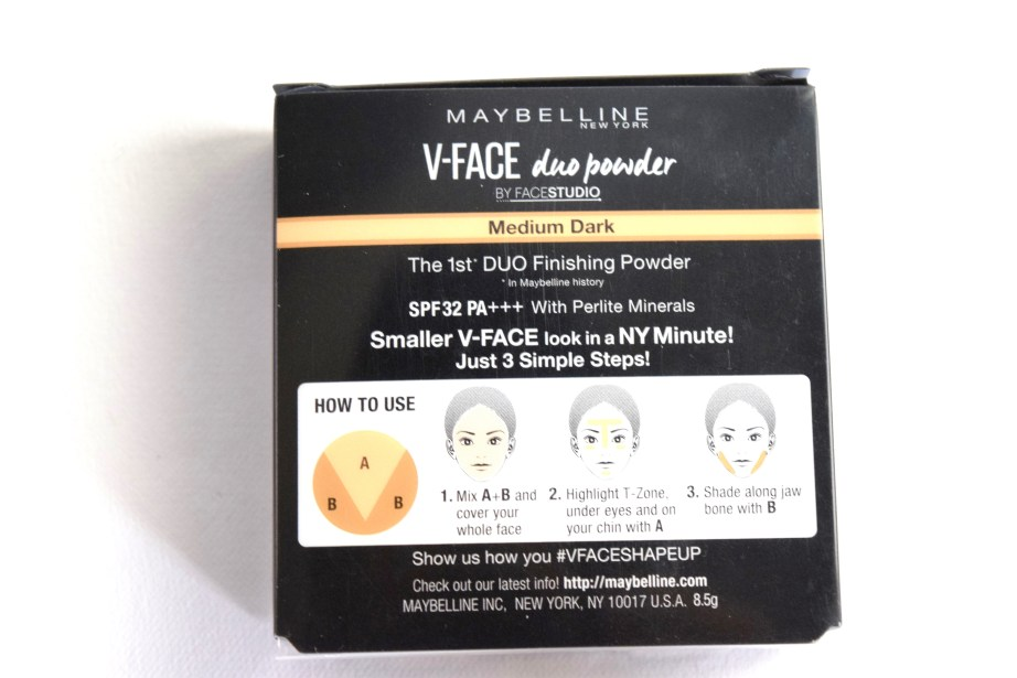 Maybelline V Face Duo Powder Review, Swatches Packaging