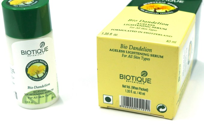 Biotique Bio Dandelion Ageless Lightening Serum Review, Swatches Box bottom