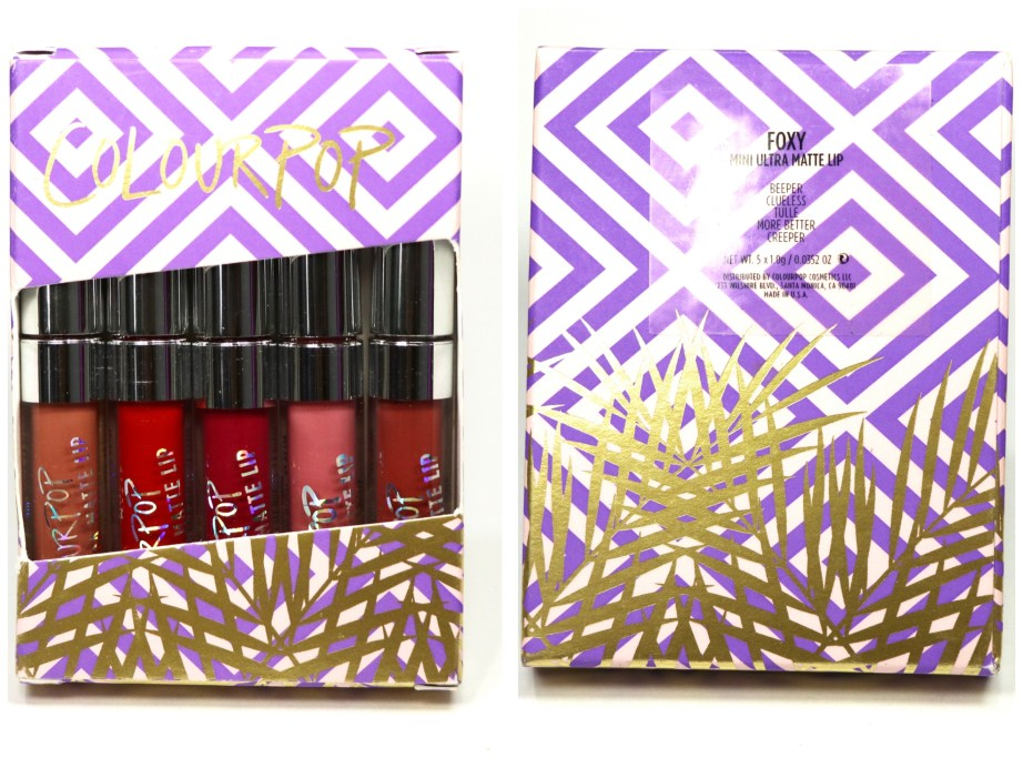 ColourPop Foxy Ultra Matte Lipstick Kit Review, Swatches front back