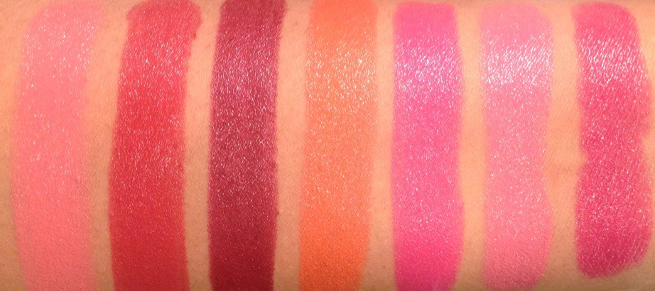 All Lakme Absolute Argan Oil Lip Color Lipsticks 15 Shades Review, Swatches Juicy Plum, Dewy Orange, Lush Rose, Silky Blush, Pink Satin MBF