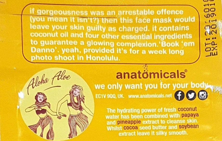 Anatomicals Hawaii Five Glow Tropical Hydrating Face Mask Review Details