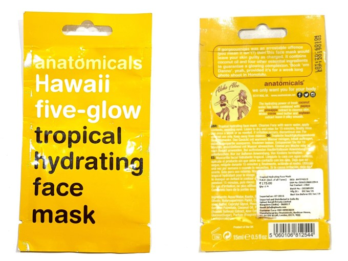 Anatomicals Hawaii Five Glow Tropical Hydrating Face Mask Review front back
