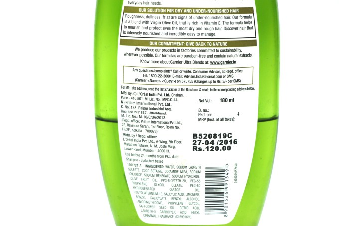Garnier Ultra Blends Mythic Olive Deep Nourishing Shampoo Review Price