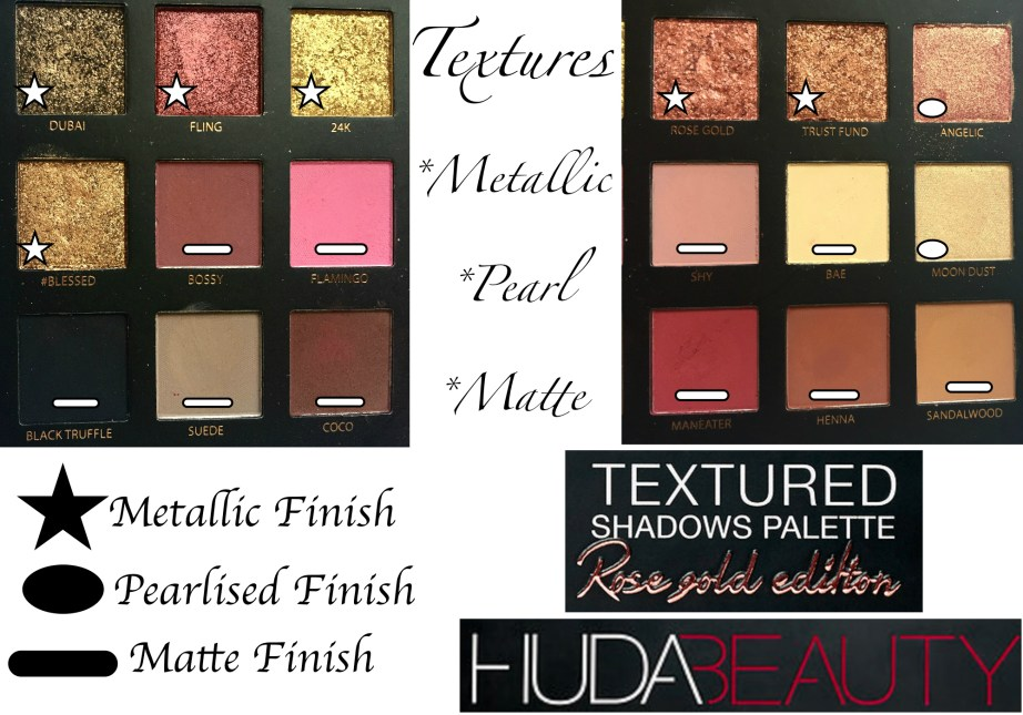 Huda Beauty Rose Gold Textured Shadows Palette Review, Swatches All Shades Finish Metallic Pearl Matte
