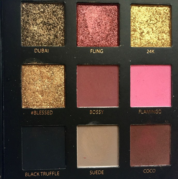 Huda Beauty Rose Gold Textured Shadows Palette Review, Swatches Left half