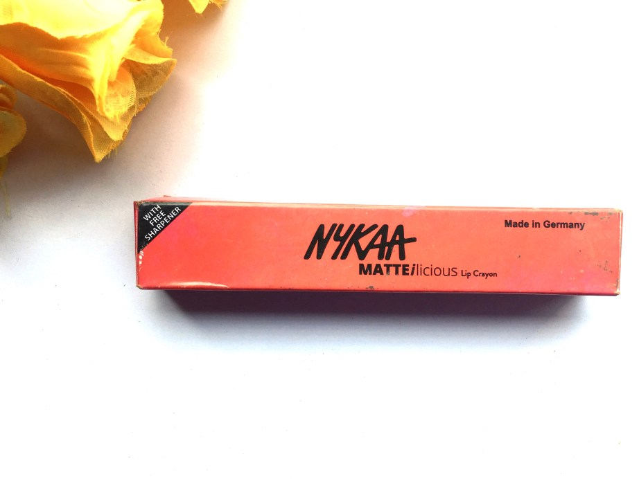Nykaa Matteilicious Lip Crayon Hot As Red Review, Swatches box