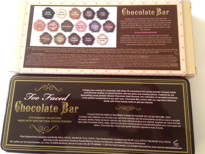 Too Faced Chocolate Bar Eyeshadow Palette Review, Swatches Back
