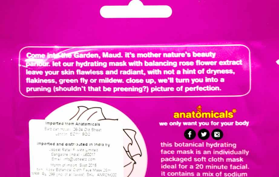 Anatomicals Botanical Hydrating Rose Face Mask Cloth Review Info