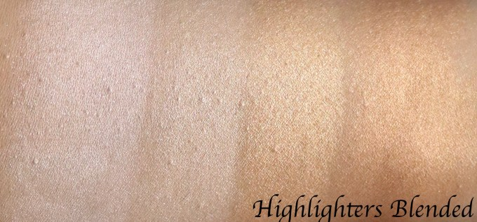 BH Cosmetics Carli Bybel Eyeshadow & Highlighter Palette Review, Swatches Highlighters blended