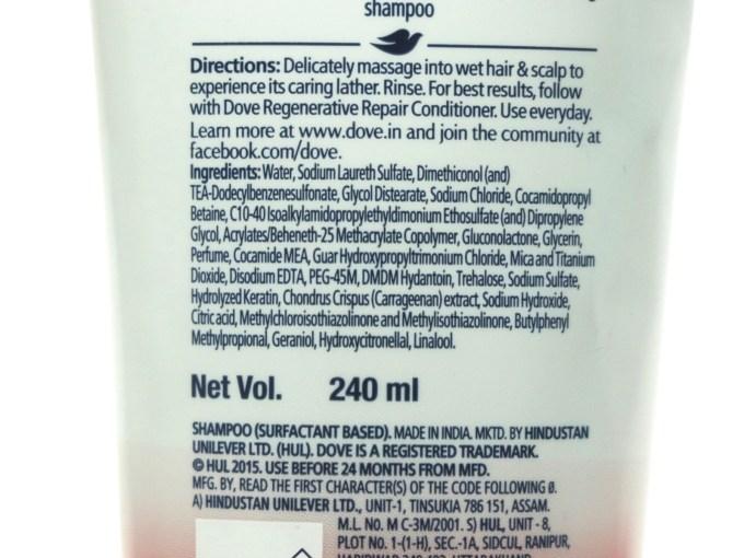 Dove Regenerative Repair Shampoo Review Ingredients