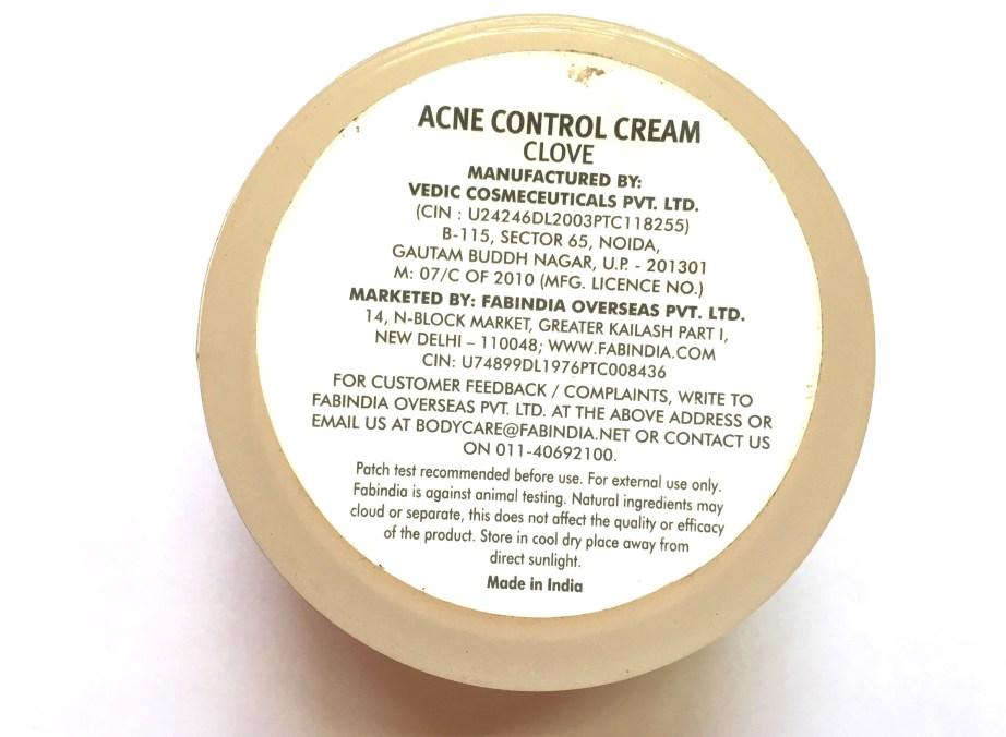 Fabindia Clove Acne Control Cream Review Details