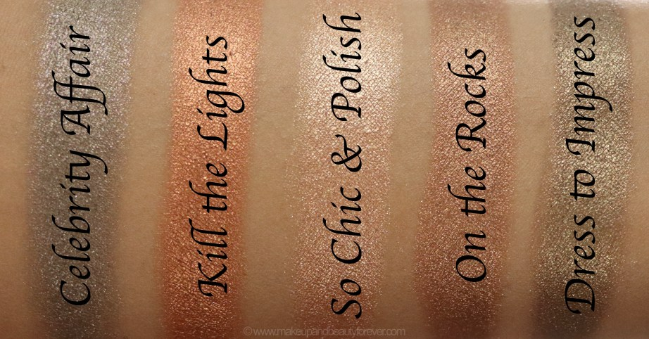 Morphe Pressed Pigments Swatches Celebrity Affair, Kill the Lights, So Chic & Polish, On the Rock, Dress to Impress skin