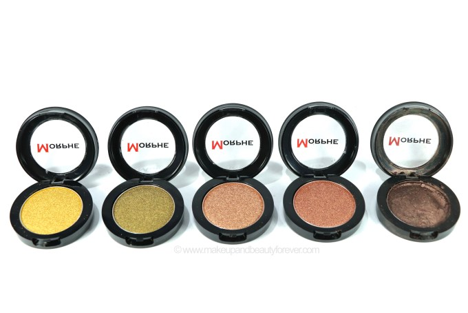 Morphe Pressed Pigments Swatches Gold Digger, Richly Made Up, Rodeo Drive, 5 Star Luxury, Bad Romance