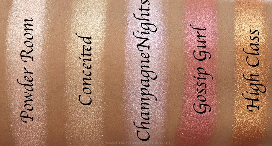 Morphe Pressed Pigments Swatches Powder Room, Conceited, Champagne Nights, Gossip Gurl, High Class