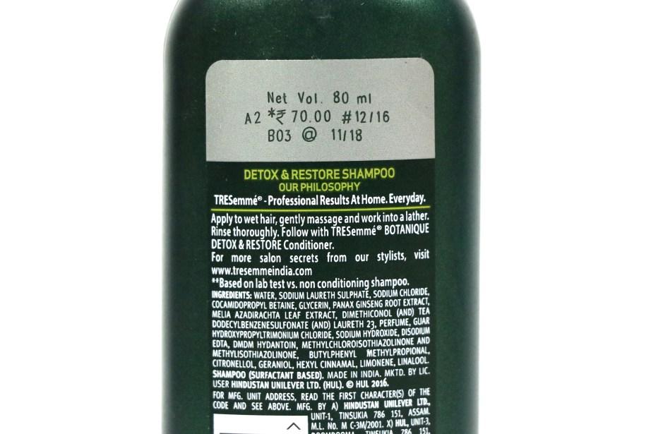 TRESemmé Botanique Detox & Restore Shampoo Review Price