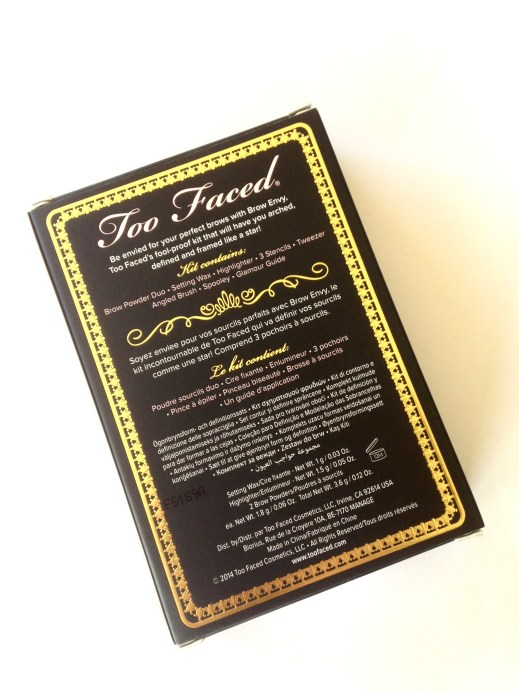 Too Faced Brow Envy Brow Shaping & Defining Kit Review, Swatches Box Back MH