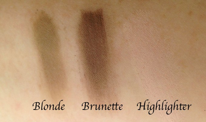 Too Faced Brow Envy Brow Shaping & Defining Kit Review, Swatches L-R Blonde, Brunette, Highlighter