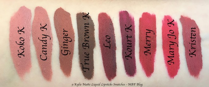 9 Kylie Matte Liquid Lipsticks Shades Review, Swatches Koko K, Candy K, Ginger, True Brown K, Leo, Kourt K, Merry, Mary Jo k, Kristen