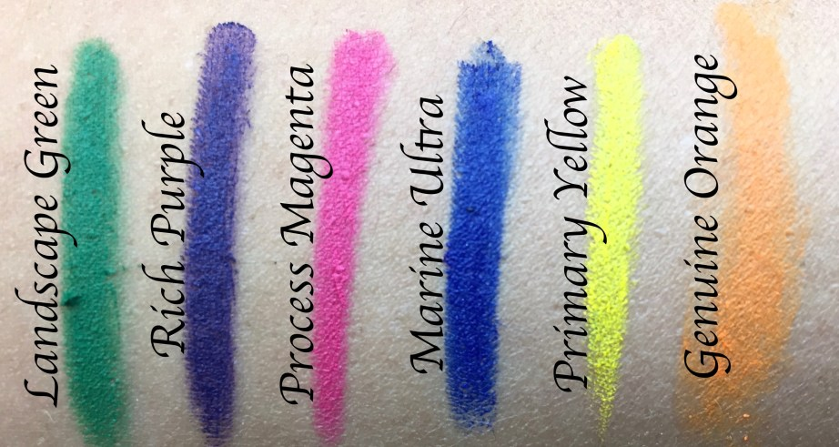 All MAC Work It Out Chromagraphic Pencils Shades Review, Swatches Landscape Green, Rich Purple, Process Magenta, Marine Ultra, Primary Yellow, Genuine Orange MBF