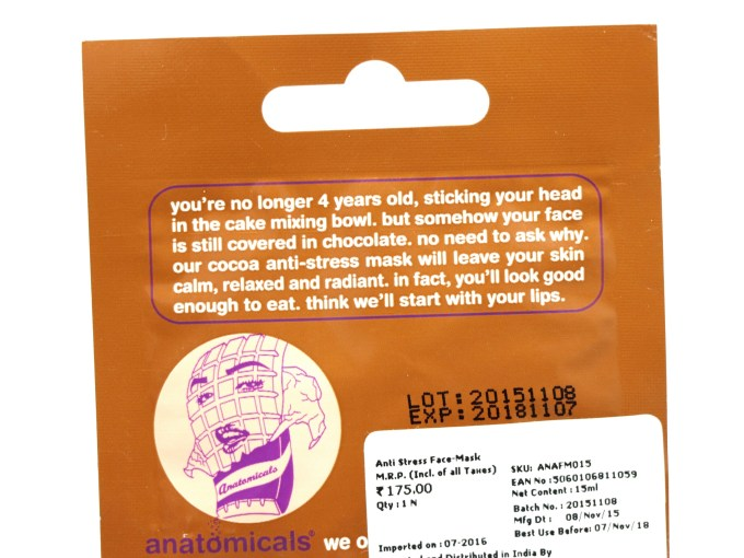 Anatomicals Look You've Got Chocolate All Over Your Face Anti-Stress Face Mask Review Info