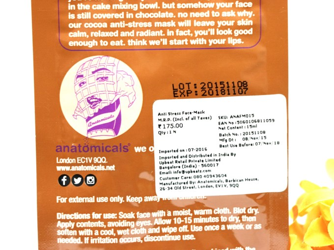 Anatomicals Look You've Got Chocolate All Over Your Face Anti-Stress Face Mask Review Price