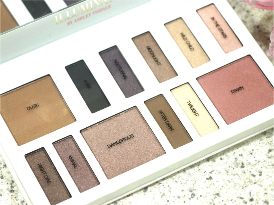 BH Cosmetics Illuminate Ashley Tisdale Night Goddess Palette Review, Swatches with names
