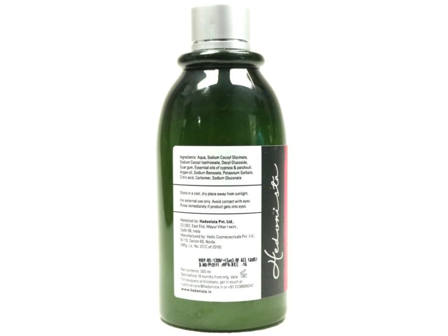 Hedonista Argan Shampoo Review Back
