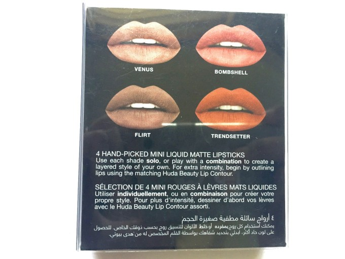 Huda Beauty The Nude Edition Liquid Matte Minis Lipstick Set Review, Swatches back details
