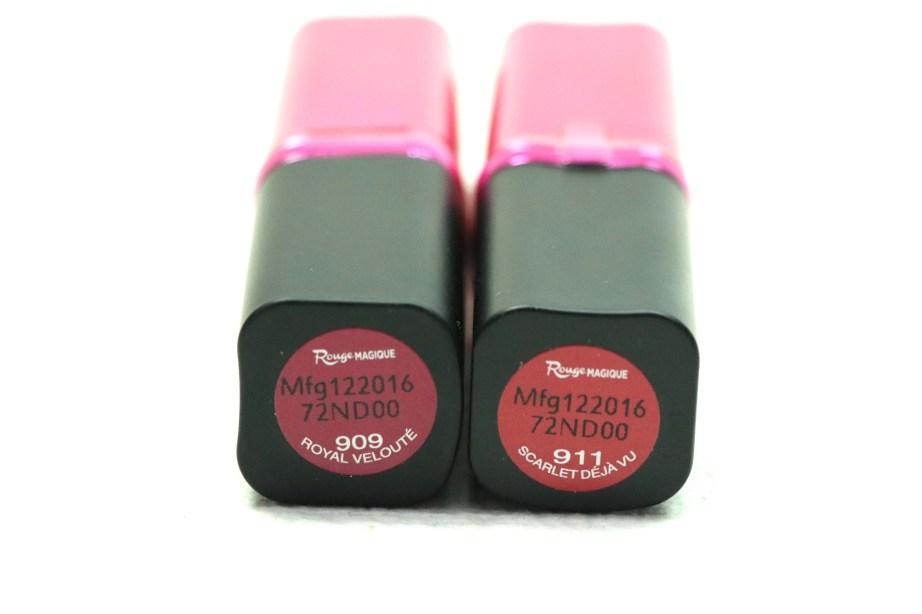 L'Oreal Paris Rouge Magique Lipstick Royal Velouté 909 Review, Swatches vs scarlet deja vu