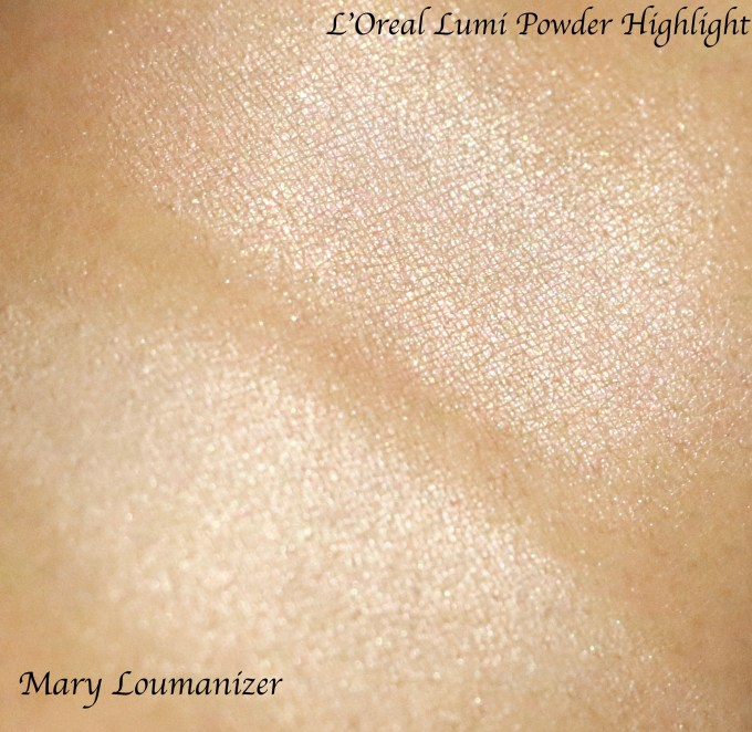 L'Oreal True Match Lumi Powder Glow Illuminator Blush & Highlight Vs the balm mary Lou Manizer Swatches