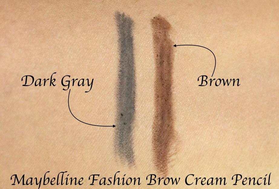 Maybelline Fashion Brow Cream Pencil Dark Gray, Brown Swatches