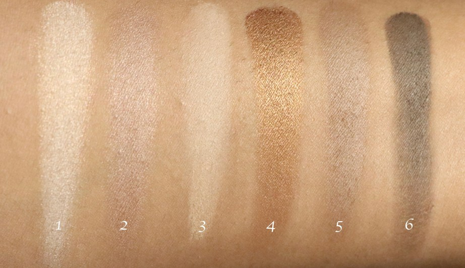 Maybelline The Nudes Eyeshadow Palette Review, Swatches Top row
