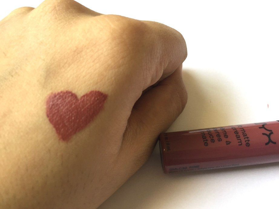 NYX Rome Soft Matte Lip Cream Review, Swatches Warm Light Hand Swatch