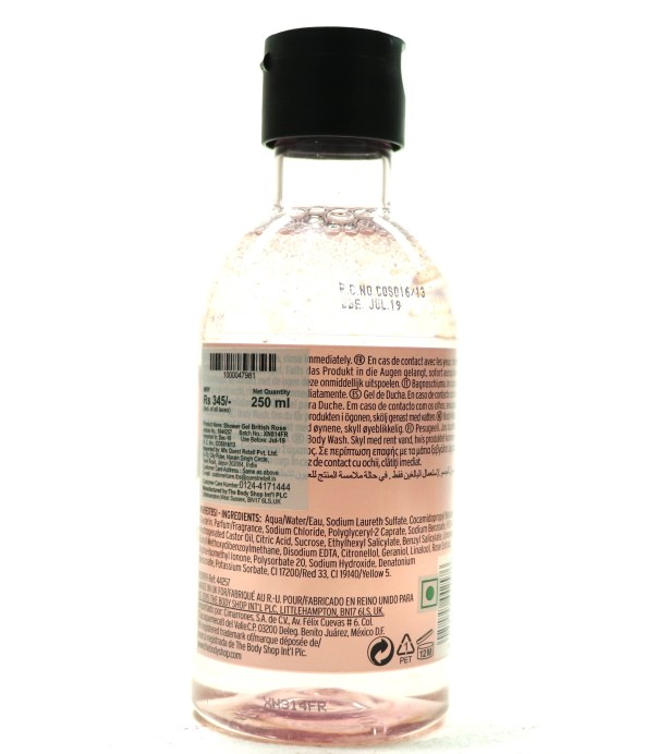 The Body Shop British Rose Shower Gel Review back